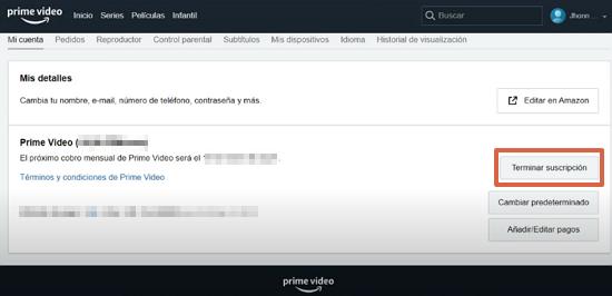 Cómo cancelar suscripción de Amazon Prime Video y darse de baja desde la página web paso 2