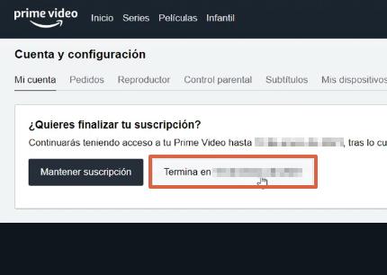 Cómo cancelar suscripción de Amazon Prime Video y darse de baja desde la página web paso 4