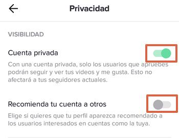 Cómo configurar la privacidad de una cuenta de TikTok paso 4