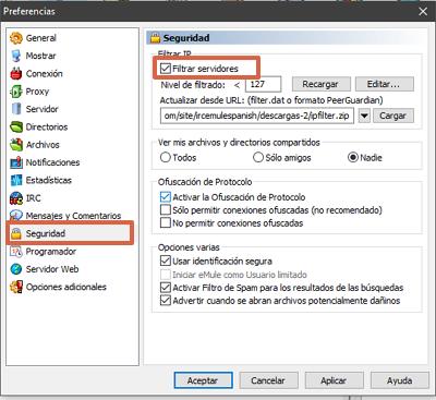 Cómo configurar la seguridad en eMule paso 2