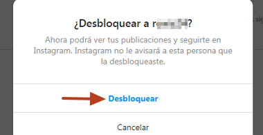 Cómo desbloquear un usuario que fue bloqueado en Instagram desde la PC paso 6