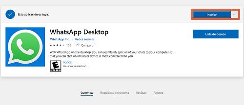 Cómo descargar WhatsApp para PC Windows desde la tienda de Microsoft paso 2