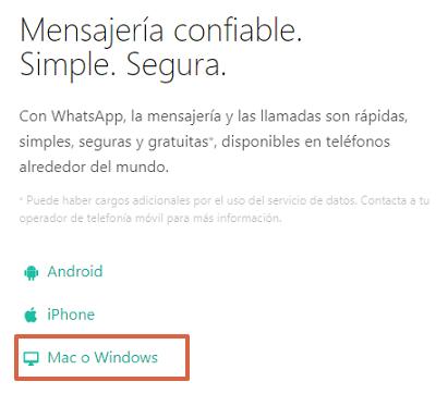 Cómo descargar WhatsApp para PC Windows o Mac desde el navegador paso 1