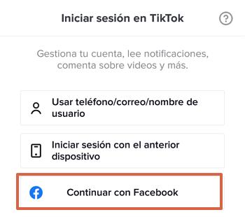 Cómo iniciar sesión o entrar a tu cuenta de Tik Tok con Facebook paso 1