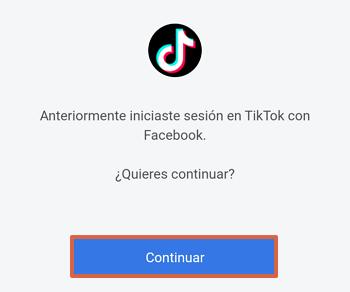 Cómo iniciar sesión o entrar a tu cuenta de Tik Tok con Facebook paso 2
