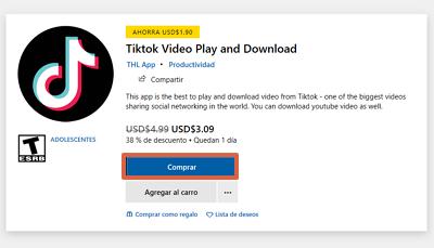 Cómo iniciar sesión o entrar a tu cuenta de Tik Tok desde la Tienda de Microsoft paso 2