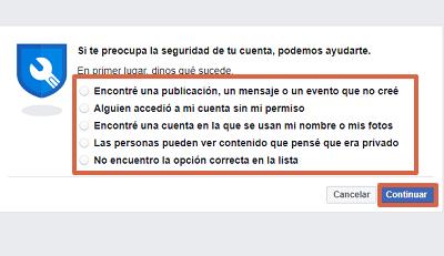 Cómo recuperar una cuenta de Facebook robada con hackeada con Facebook Hacked paso 2