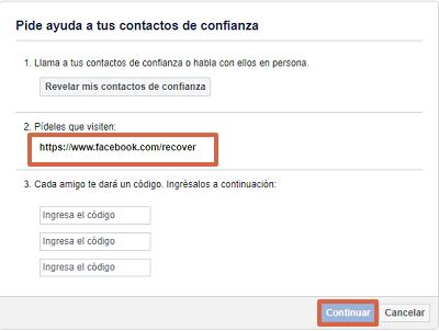 Cómo recuperar una cuenta de Facebook robada con hackeada con contactos de confianza paso 8