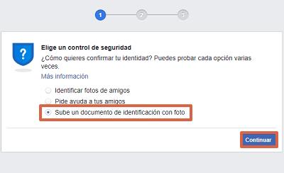 Cómo recuperar una cuenta de Facebook robada con hackeada con un documento de identificación paso 4