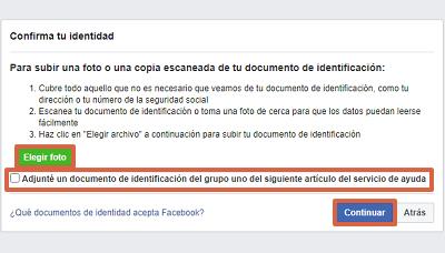 Cómo recuperar una cuenta de Facebook robada con hackeada con un documento de identificación paso 7