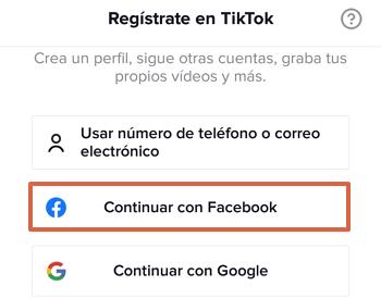 Cómo registrarse o crear una cuenta de TikTok con Facebook paso 2