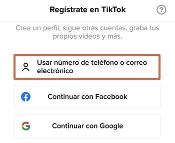 Cómo registrarse o crear una cuenta de TikTok con un número telefónico o un correo electrónico paso 1