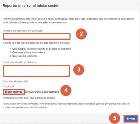 Cómo reportar un error al iniciar sesion en Facebook