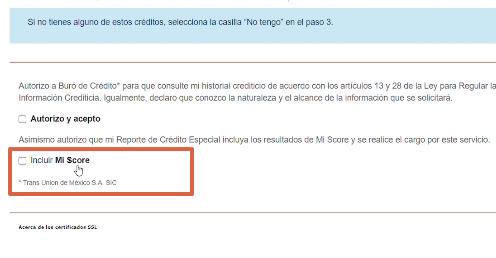 Cómo saber si estoy en Buró de Crédito a través de la página web paso 3