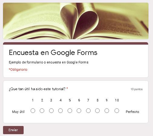 Crear hacer encuesta utilizando Google Forms en Google Drive ejemplo