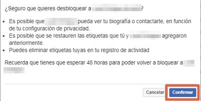 Desbloquear a alguien de Facebook desde el ordenador paso 5