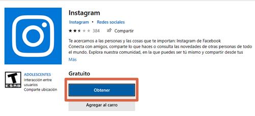 Descargar Instagram para PC gratis desde la tienda de Microsoft paso 1