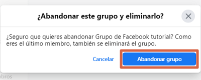 Eliminar un grupo de Facebook creado por mi definitivamente desde el ordenador paso 6