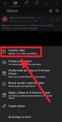 Guardar video de facebook en telefono