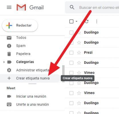 como crear una carpeta en gmail