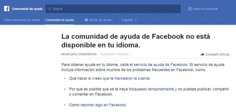 comunidad de ayuda de facebook