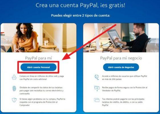 crear cuenta personal en paypal