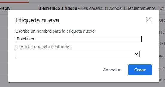 crear etiquetas en gmail