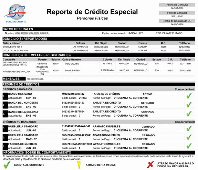 reporte especial de creditos
