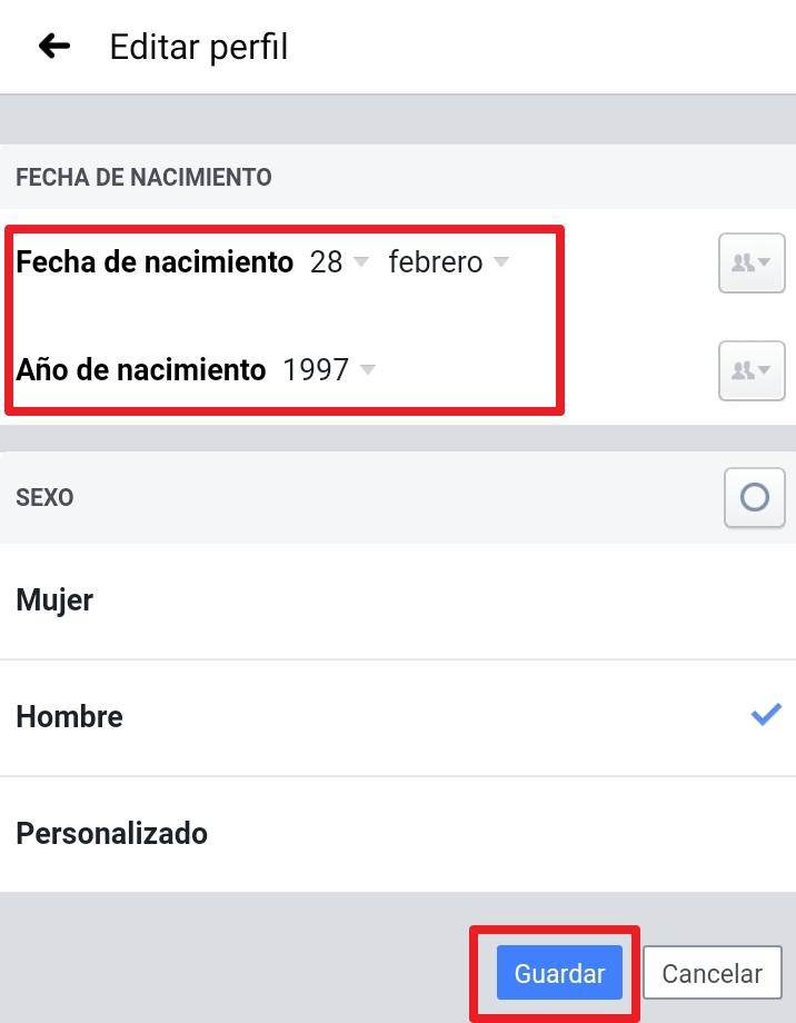 Cambiar nombre de usuario en Android Facebook