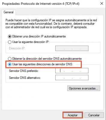 Cómo cambiar el DNS para solucionar el mensaje de dns_probe_finished_no_internet paso 7