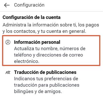 Cómo cambiar el correo electrónico de tu cuenta de Facebook desde Facebook Lite paso 4