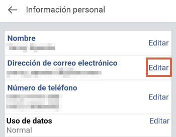 Cómo cambiar el correo electrónico de tu cuenta de Facebook desde Facebook Lite paso 5