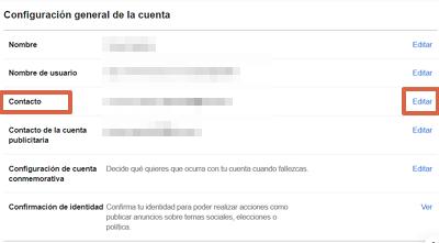 Cómo cambiar el correo electrónico de tu cuenta de Facebook desde el navegador paso 4