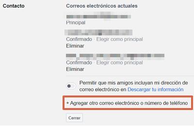 Cómo cambiar el correo electrónico de tu cuenta de Facebook desde el navegador paso 5