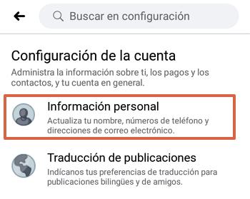 Cómo cambiar el correo electrónico de tu cuenta de Facebook desde la aplicación paso 5
