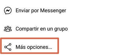 Cómo compartir videos desde Facebook App a WhatsApp paso 3