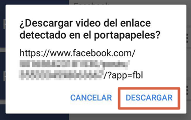Cómo compartir videos desde Facebook a WhatsApp usando una app externa paso 5