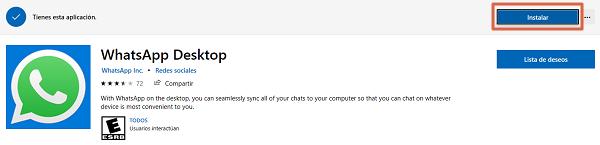 Cómo descargar WhatsApp para ordenadores Windows desde la Tienda Microsoft paso 3