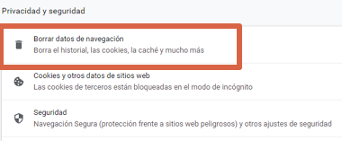 Cómo solucionar error ERR_SSL_PROTOCOL_ERROR en Google Chrome borrando caché SSL y del navegador paso 3