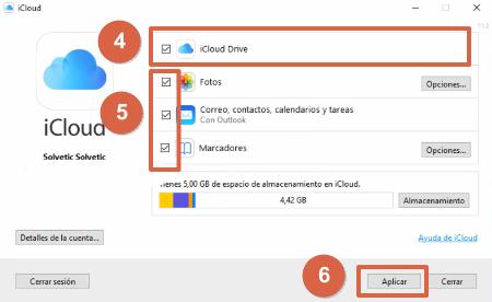 Configurar iCloud Drive en Windows paso 4, 5 y 6