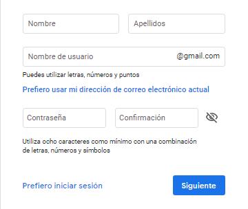 Crear un correo electrónico gratis Gmail paso 2