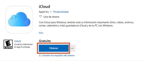 Descargar iCloud Drive desde Microsoft Store paso 1