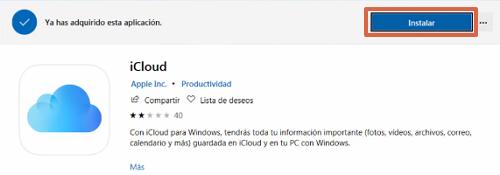 Descargar iCloud Drive desde Microsoft Store paso 2