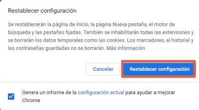 Restablecer Google Chrome para solucionar error err_connection_closed (esta página no esta disponible) paso 5