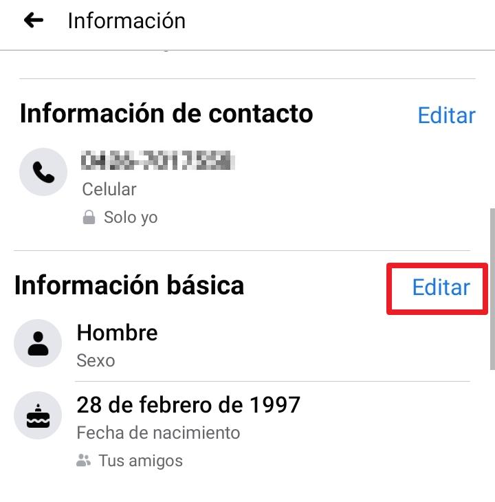 cambiar fecha de cumpleaños en facebook desde celular