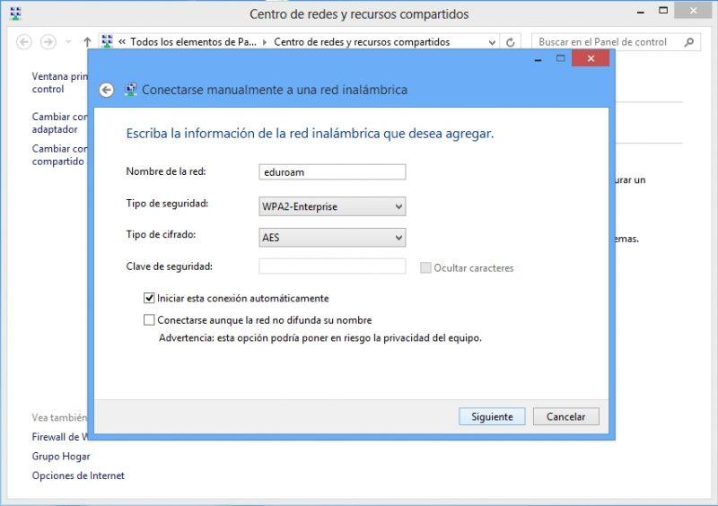 configurar red manualmente