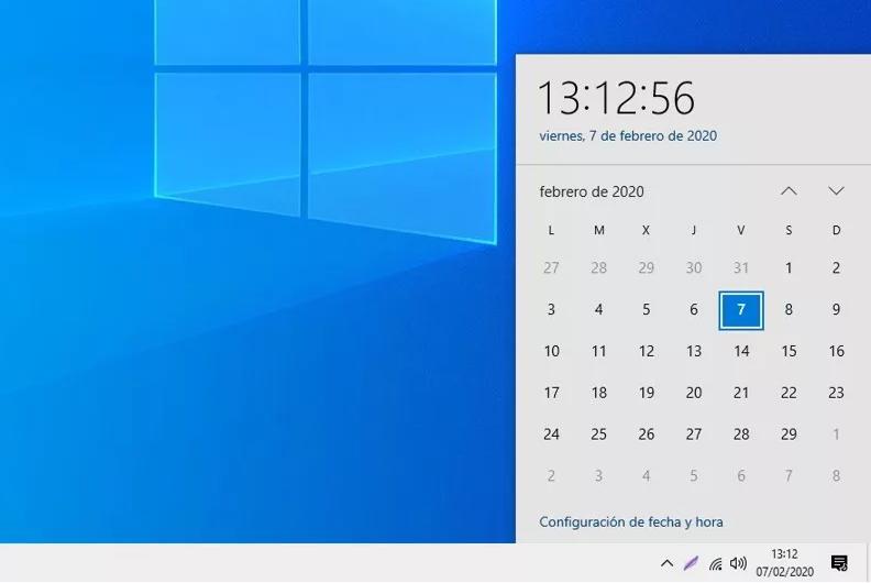 fecha y hora en windows