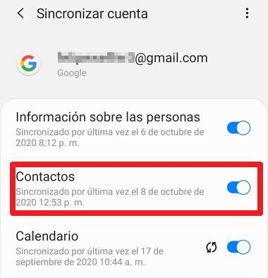 guardar contactos en google