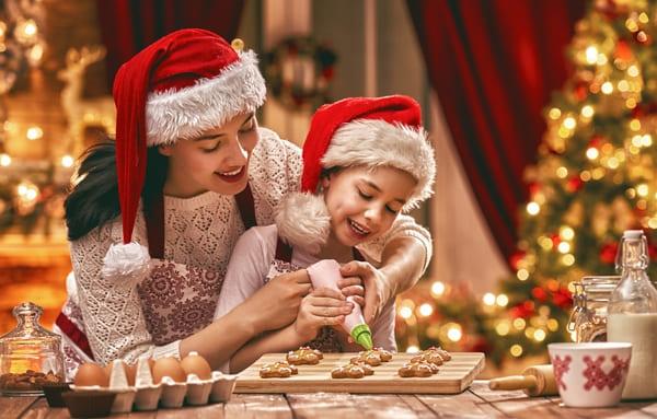 Madre e hija en navidad