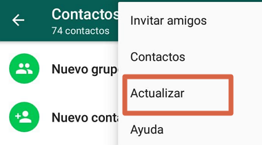 Cómo actualizar libreta de contactos de WhatsApp en Android o iOS desde el menú de la app paso 4
